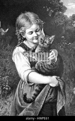 Little girl has a House cat on the arm, Reproduction of an original woodcut from the year 1882, digital improved - Stock Photo