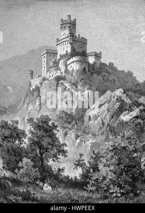 A hillside Castle in the upper Middle Rhine Valley in the District of Mainz-Bingen, Germany is called Burg Sooneck, - Stock Photo