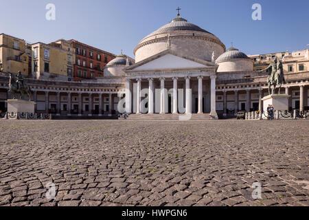 San Francesco di Paola church and Piazza del Plebiscito square, Naples, Italy. - Stock Photo
