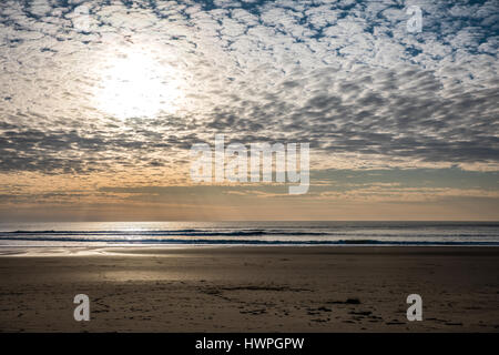 Late afternoon on the beach in Jard-sur-Mer (Vendee, France) - Stock Photo