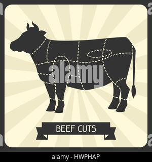 Beef cuts. Butchers cheme cutting meat illustration
