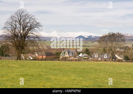 Killearn, Glasgow, Scotland, UK. 22 March 2017. UK weather - a crisp morning in the village of Killearn with snow - Stock Photo