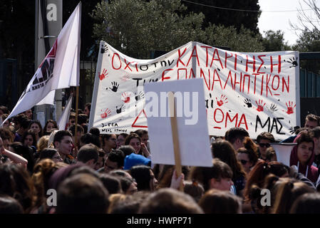 Athens, Greece. 22nd March 2017. Students shout slogans against the current education system and the recent reforms - Stock Photo