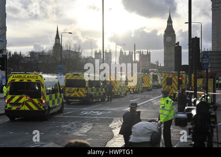 London, UK. 22nd Mar, 2017. Ambulances are seen outside the Houses of Parliament in London, Britain on March 22, - Stock Photo