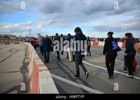 Gibraltar. 22nd March 2017. Pedestrians delayed at the crossing of the road by the runway as security measures increased - Stock Photo