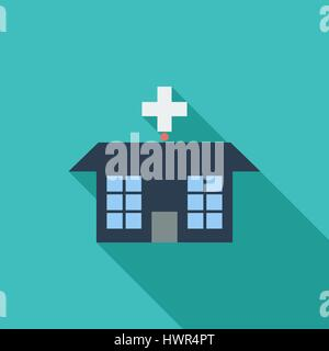 Hospital icon. Flat vector related icon with long shadow for web and mobile applications. It can be used as - logo, - Stock Photo