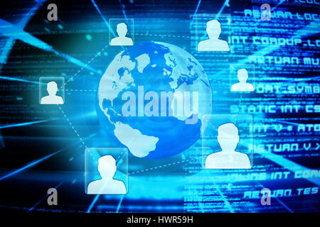 Global technology background against abstract blue text 3d - Stock Photo