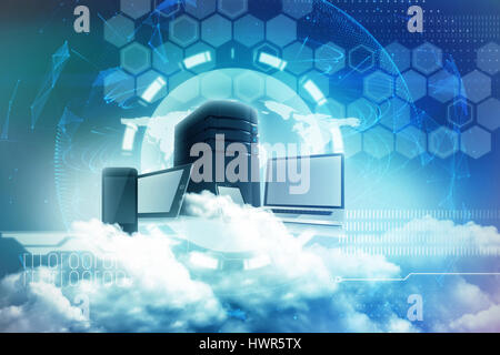 Scenic view of white fluffy clouds against global technology background in purple 3d - Stock Photo