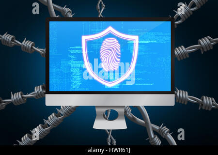 Fingerprint against blue background with vignette 3d - Stock Photo