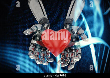 Three dimensional image of robot holding red heard shape against blue dna helix 3d - Stock Photo