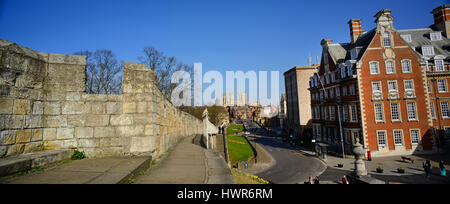 panoramic view of city walls york minster and the grand hotel york yorkshire united kingdom - Stock Photo