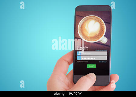 Female hand holding a smartphone against smartphone screen with coffee wallpaper - Stock Photo