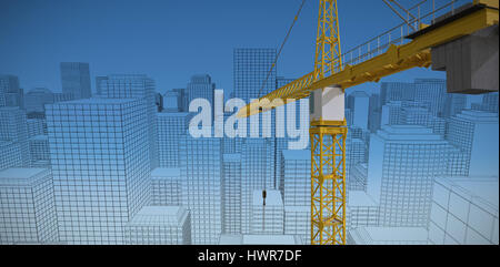 Studio Shoot of a crane  against blue sky background - Stock Photo