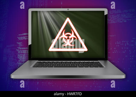 Biohazard symbol on yellow board against blue codes - Stock Photo