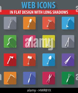 Gardening tools collection web icons in flat design with long shadows - Stock Photo