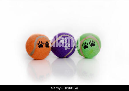 Bright and colorful dog tennis balls with paw prints. Isolated on white surface. White background. - Stock Photo