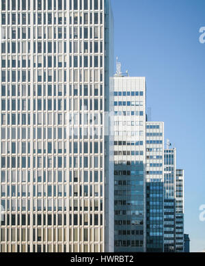 Modern architecture of Stockholm, Sweden. Skyscrapers in business district in the centre of the city against sky - Stock Photo