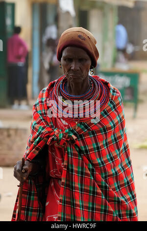MARARAL, KENYA - JULY 03: African woman from the Samburu tribe with characteristic decorative necklaces on the market - Stock Photo