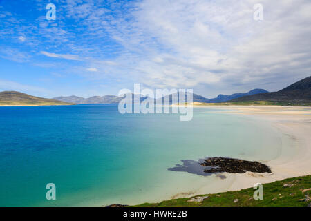 View across Sound of Taransay and Traigh Sheileboist beach to north Harris mountains. Seilebost Isle of Harris Outer - Stock Photo