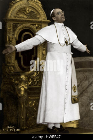 Pope Pius XII - portrait. Pope from 2 March 1939 to 1958 - 2 March 1876 - 9 October 1958. - Stock Photo