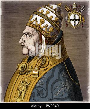 Pope Pius II - portrait, in profile, with coat of arms. Engraving by Philippe Galle, from the work 'Virorum doctorum de disciplinis bene meritium effigies', Antwerp 1572. 18 October 1405 - 14 August 1464. Birth name Aeneas Silvius Piccolomini. Papacy began 19 August 1458.