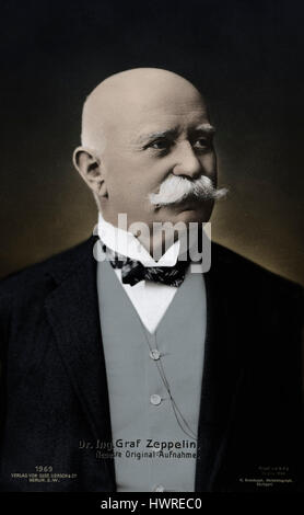 Count Ferdinand von Zeppelin - portrait of the German founder of the Zeppelin airship company..8 July 1838 - 8 March - Stock Photo