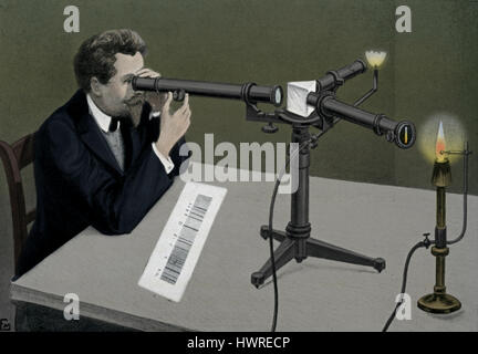 Observation with a Spectroscope. A spectroscope or spectrometer splits light into the wavelengths that make it up. - Stock Photo
