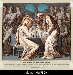 Mary Magdalene annoints Jesus, Gospel of Matthew chapter XXVI verses 10 - 12 'When Jesus understood it, he said - Stock Photo