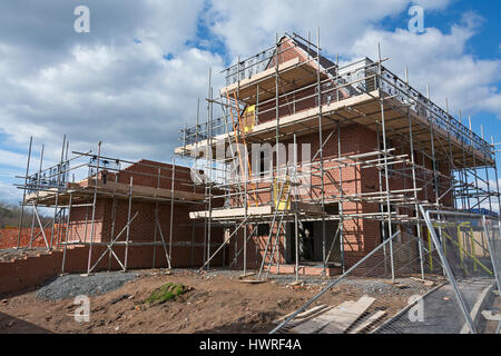 New build detached house under construction, England, UK - Stock Photo