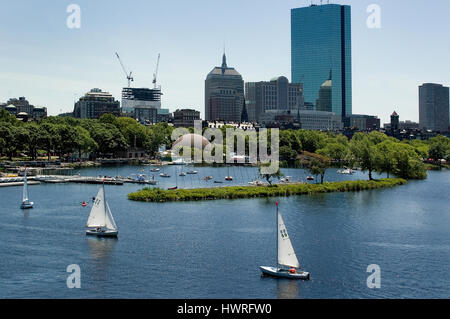 Boston's Back Bay buildings and the Esplanade Lagoon from the Longfellow Bridge, Boston, Massachusetts - Stock Photo