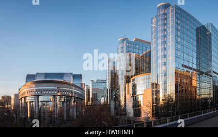 European Parliament in Brussels at sunrise - Stock Photo