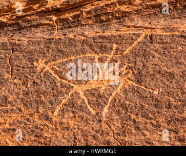 Anicent Camel Petroglyph Wadi Rum Valley of the Moon Jordan.  Inhabited by humans since prehistoric times, place - Stock Photo