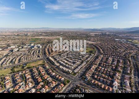 Aerial view of neighborhoods in the Summerlin community of Las Vegas, Nevada. - Stock Photo