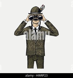 Man in costume looking through the binoculars, spyglass vintage old engraved or hand drawn illustration. Hunter, - Stock Photo