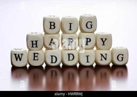 text cube happy wedding - Stock Photo