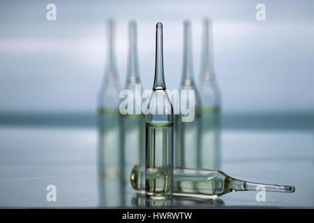 transparent vials of medicine - Stock Photo