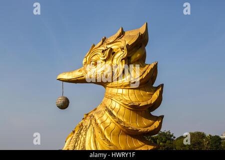 Head of the dragon on the prow of the iconic Karaweik Barge on Kandawgyi Lake, Yangon (Rangoon), Myanmar (Burma) - Stock Photo