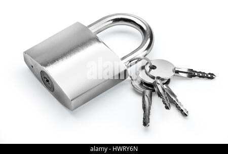 Lock with key on white background with clipping path - Stock Photo