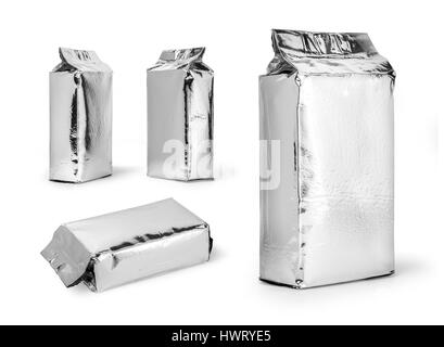 silver food package isolated on white background - Stock Photo