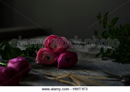Close-up of pink roses on wooden table - Stock Photo