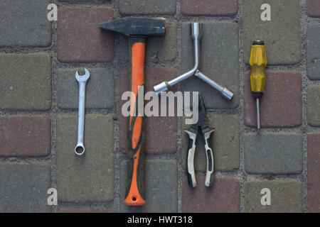 Tool. Hammer, screwdriver, wrench - Stock Photo