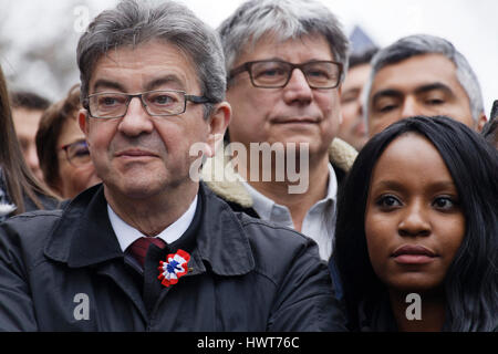 Paris, France. 18th March, 2017. Parade for the 6th republic with Jean-Luc Melenchon, Presidential Candidate, Eric - Stock Photo