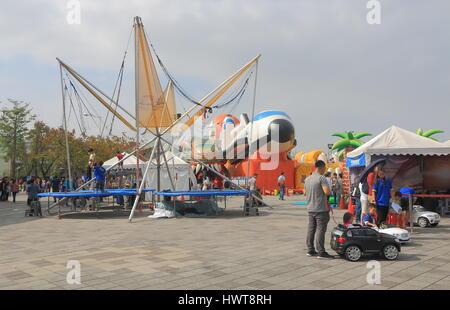 PPeople visit Taipei Expo Park amusement park in Taipei Taiwan. - Stock Photo