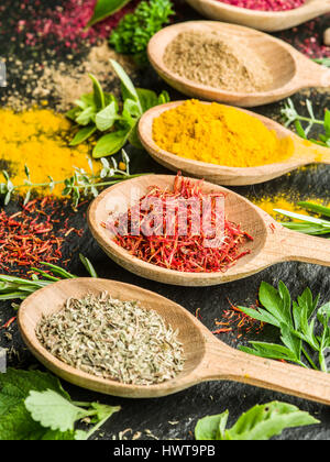 Assortment of colorful spices in the wooden spoons. - Stock Photo