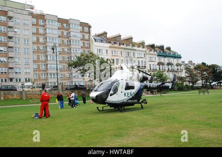 The Kent and Sussex Air Ambulance landed at Warrior Square Gardens in St. Leonards-on-Sea in East Sussex, England - Stock Photo