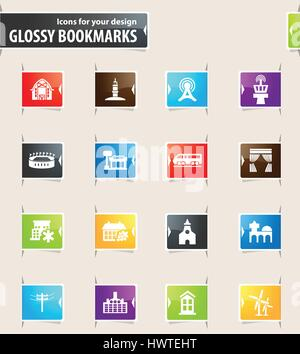 Infrastucture of the city icons for your design glossy bookmarks - Stock Photo