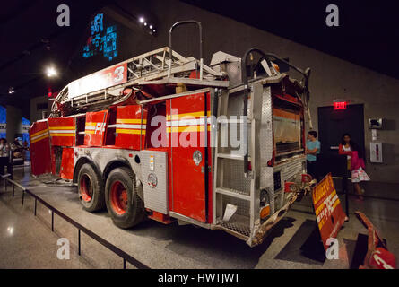 New York City, Usa - July 12, 2015:  National September 11 Memorial and Museum, Fire Engine from Ladder Company - Stock Photo