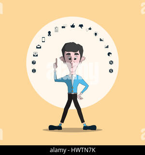 Businessman pointing finger up at icons set. - Stock Photo