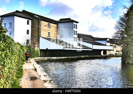 Burnley Wharf on the Leeds Liverpool canal tow path,Burnley,Lancashire,UK - Stock Photo