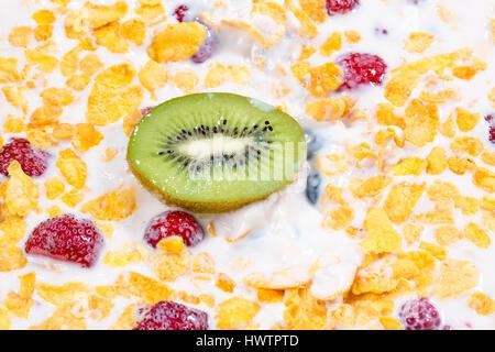 muesli and fresh berries and fruits kiwi close up - Stock Photo